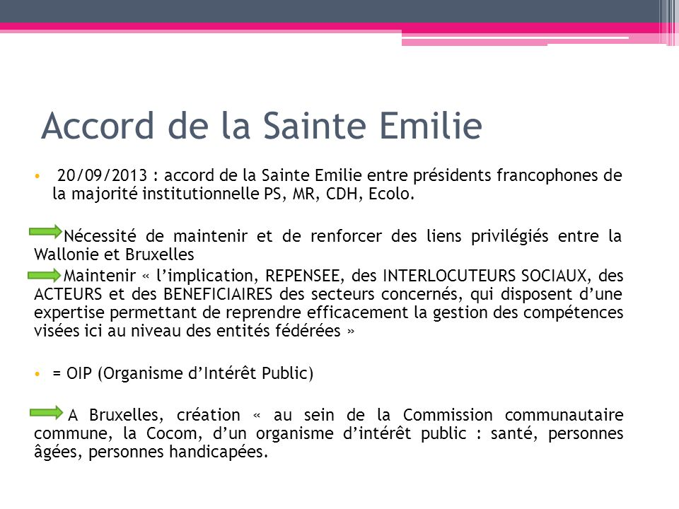 Accord de la Sainte Emilie