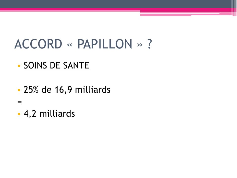 ACCORD « PAPILLON » SOINS DE SANTE 25% de 16,9 milliards =