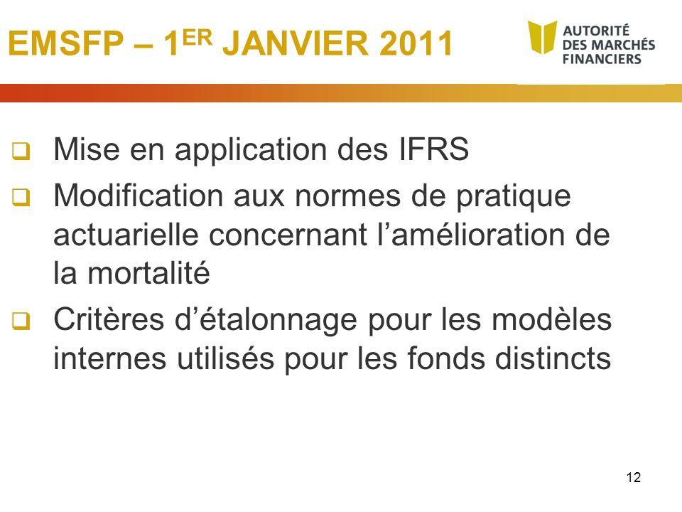 EMSFP – 1ER JANVIER 2011 Mise en application des IFRS