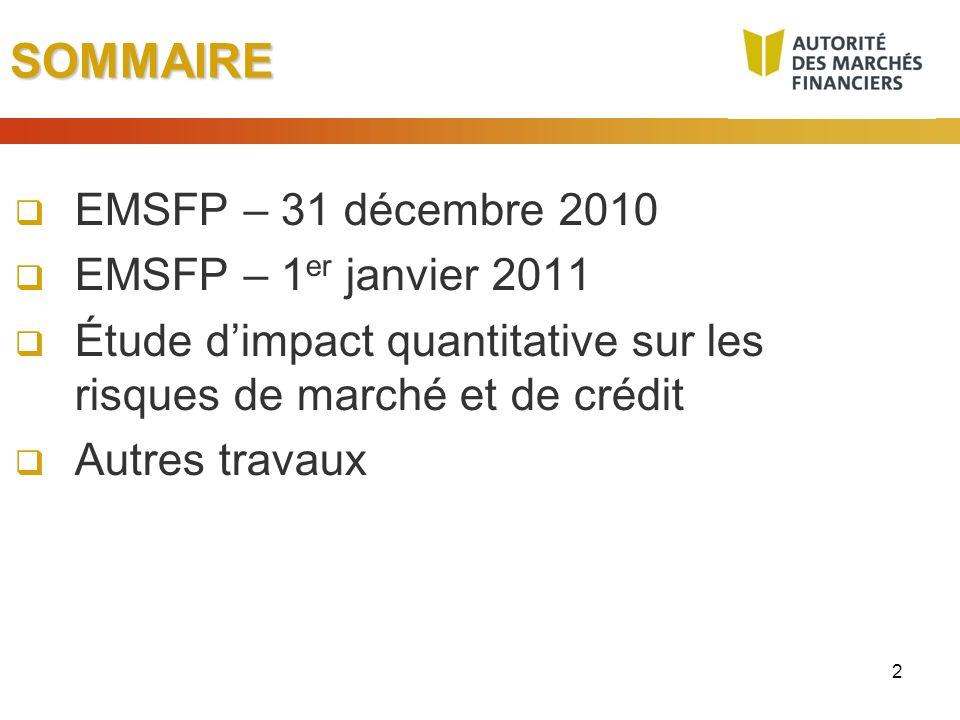 SOMMAIRE EMSFP – 31 décembre 2010 EMSFP – 1er janvier 2011