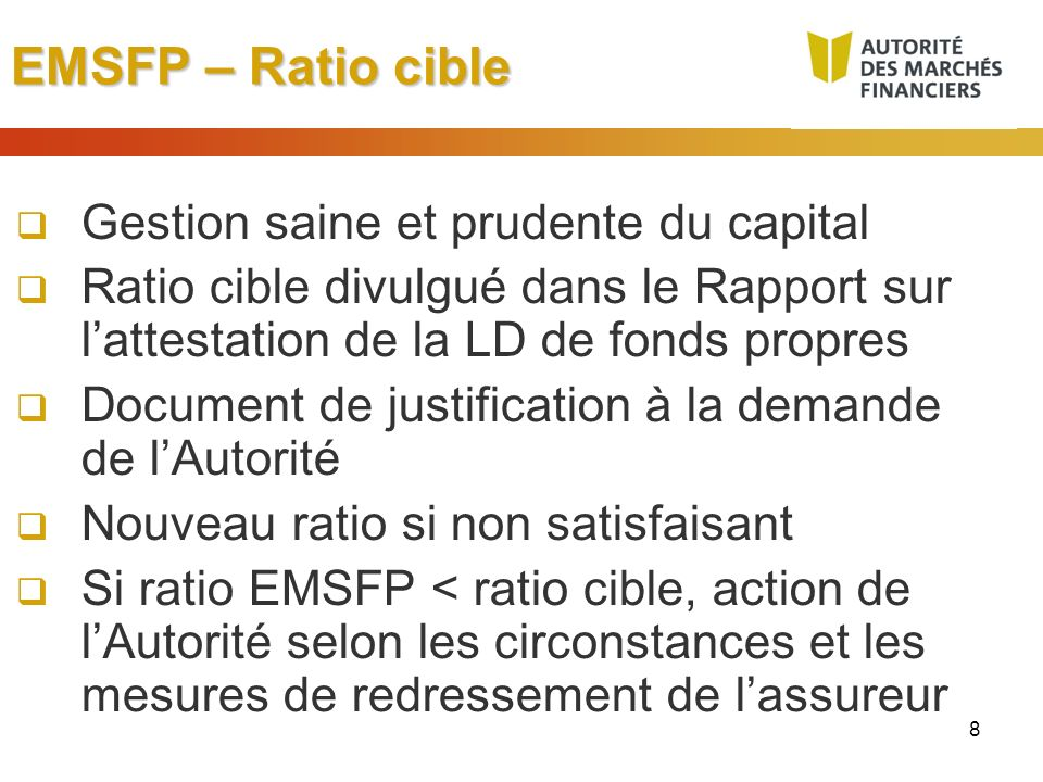 EMSFP – Ratio cible Gestion saine et prudente du capital
