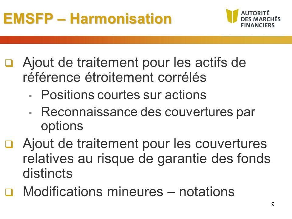 EMSFP – Harmonisation Ajout de traitement pour les actifs de référence étroitement corrélés. Positions courtes sur actions.