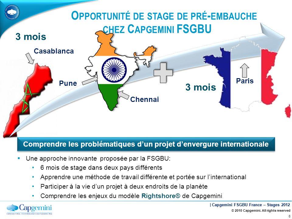 Opportunité de stage de pré-embauche chez Capgemini FSGBU