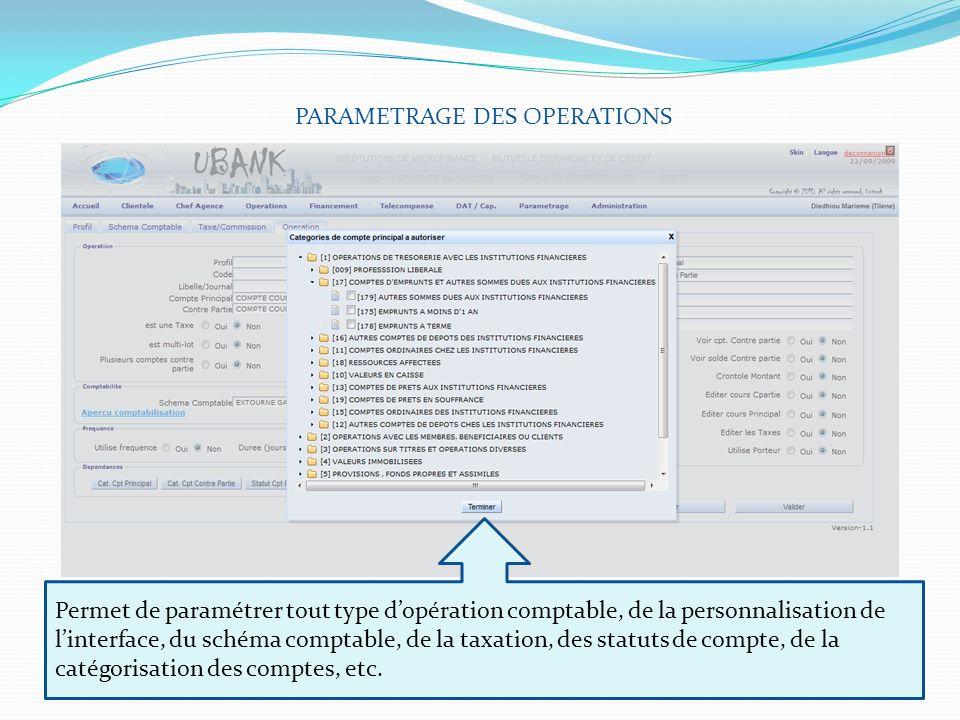 PARAMETRAGE DES OPERATIONS