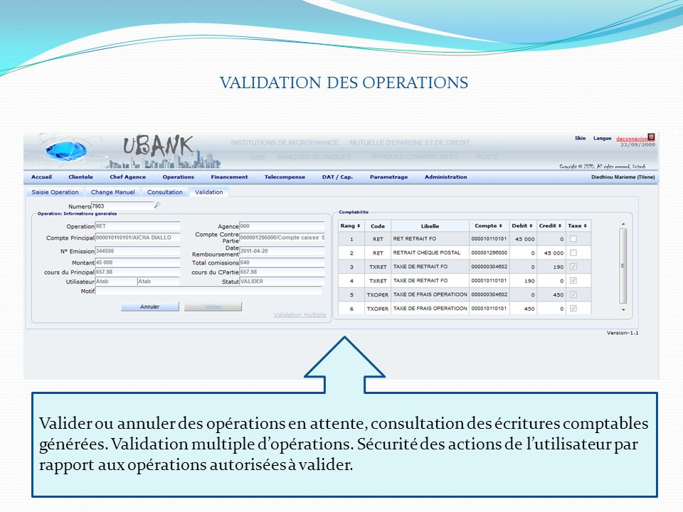 VALIDATION DES OPERATIONS