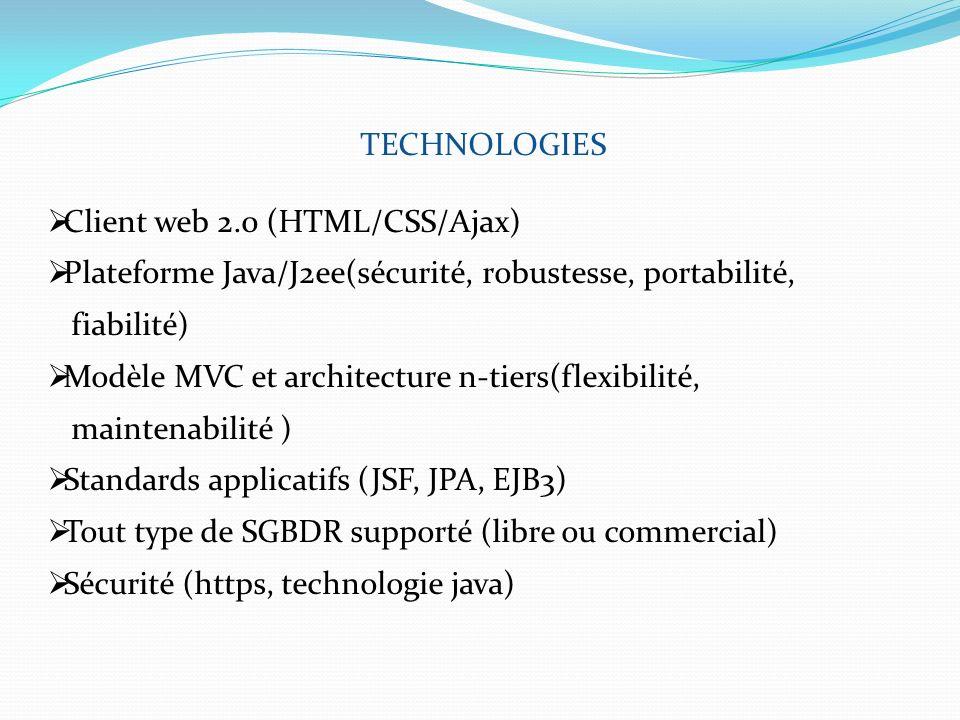 TECHNOLOGIES Client web 2.0 (HTML/CSS/Ajax) Plateforme Java/J2ee(sécurité, robustesse, portabilité,