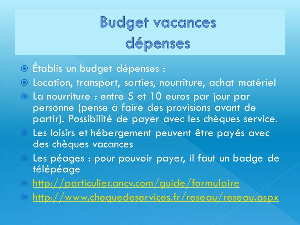 Budget vacances dépenses