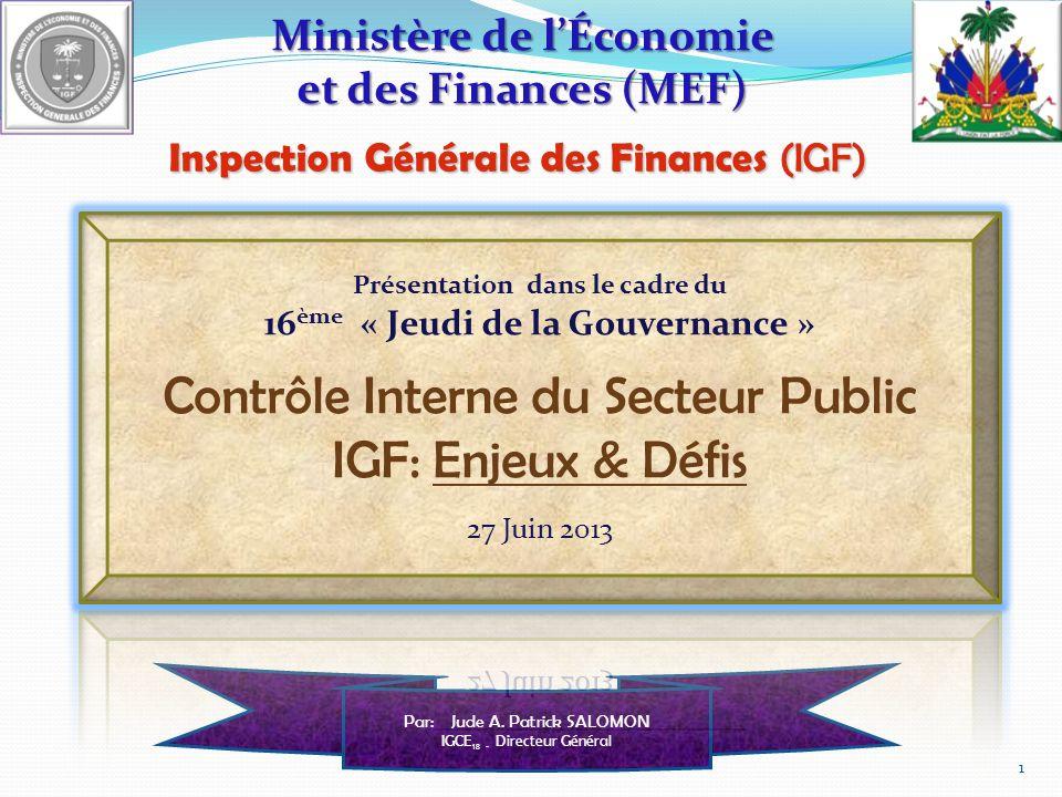 Contrôle Interne du Secteur Public IGF: Enjeux & Défis