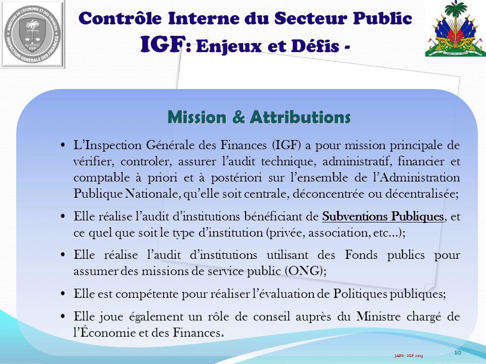IGF: Enjeux et Défis - Contrôle Interne du Secteur Public