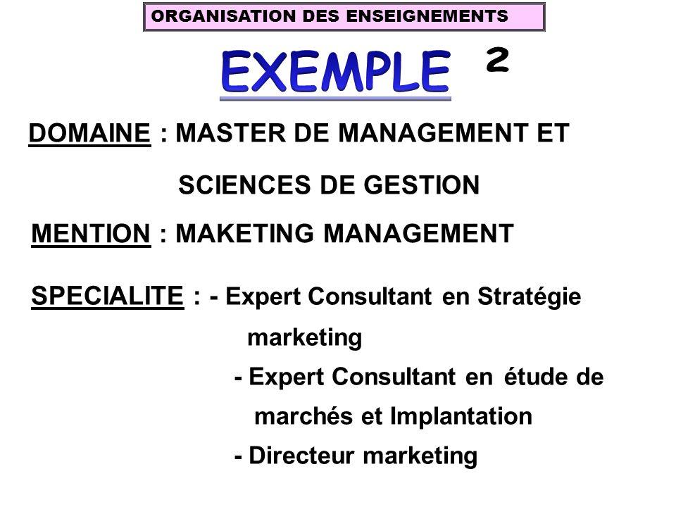 EXEMPLE DOMAINE : MASTER DE MANAGEMENT ET SCIENCES DE GESTION