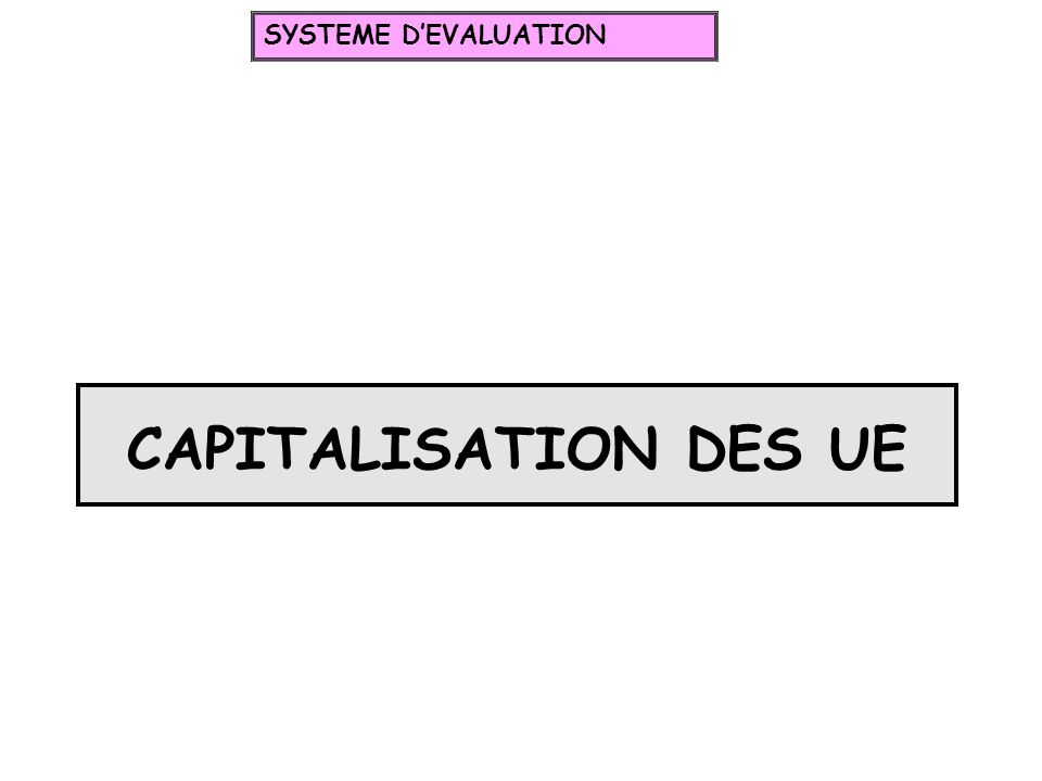SYSTEME D'EVALUATION CAPITALISATION DES UE