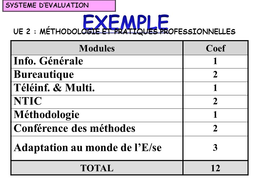 EXEMPLE Info. Générale Bureautique Téléinf. & Multi. NTIC Méthodologie