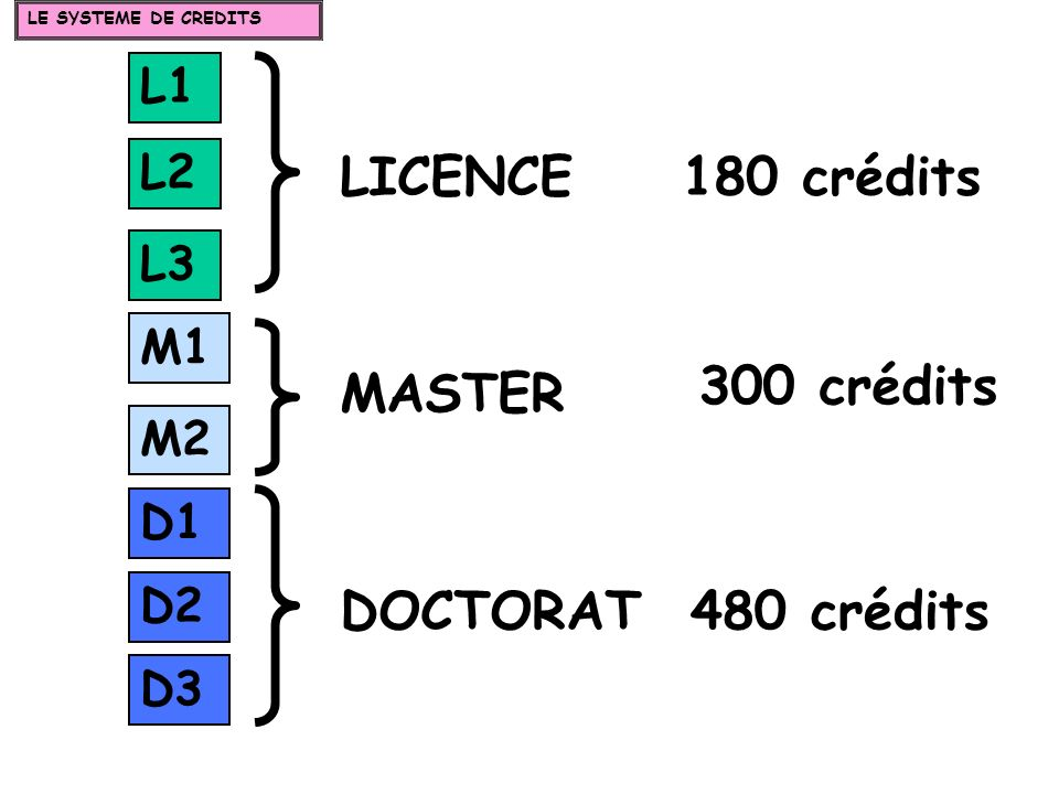 LICENCE 180 crédits 300 crédits MASTER DOCTORAT 480 crédits L1 L2 L3