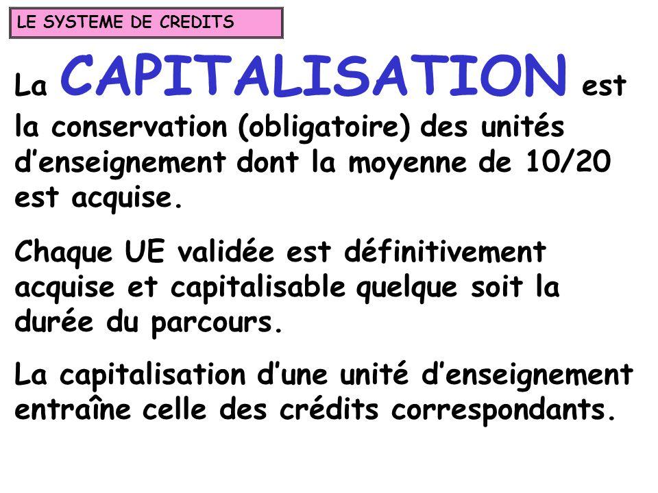 LE SYSTEME DE CREDITS La CAPITALISATION est la conservation (obligatoire) des unités d'enseignement dont la moyenne de 10/20 est acquise.