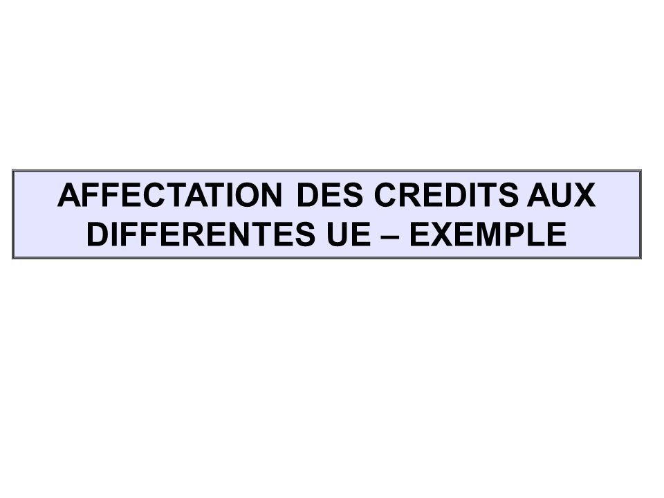 AFFECTATION DES CREDITS AUX DIFFERENTES UE – EXEMPLE