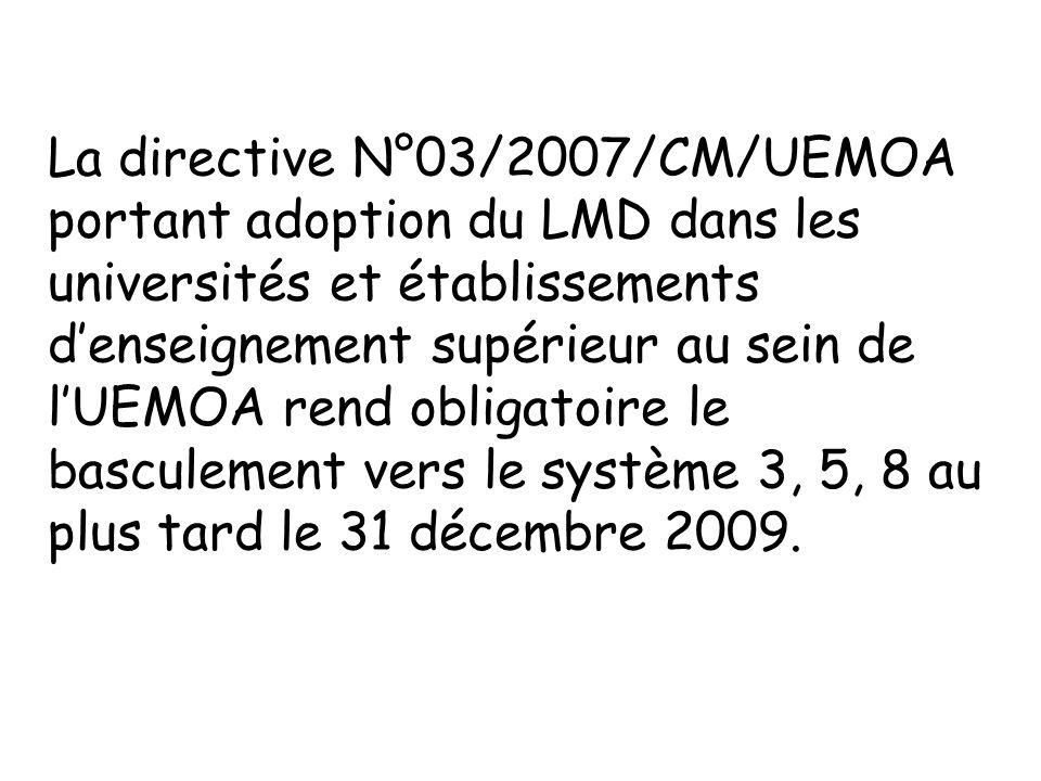 La directive N°03/2007/CM/UEMOA portant adoption du LMD dans les universités et établissements d'enseignement supérieur au sein de l'UEMOA rend obligatoire le basculement vers le système 3, 5, 8 au plus tard le 31 décembre 2009.