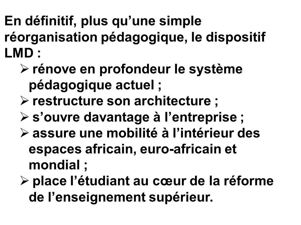 En définitif, plus qu'une simple réorganisation pédagogique, le dispositif LMD :
