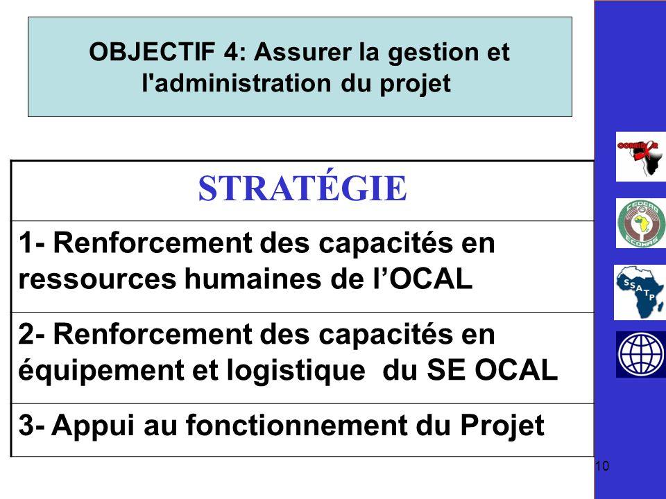 OBJECTIF 4: Assurer la gestion et