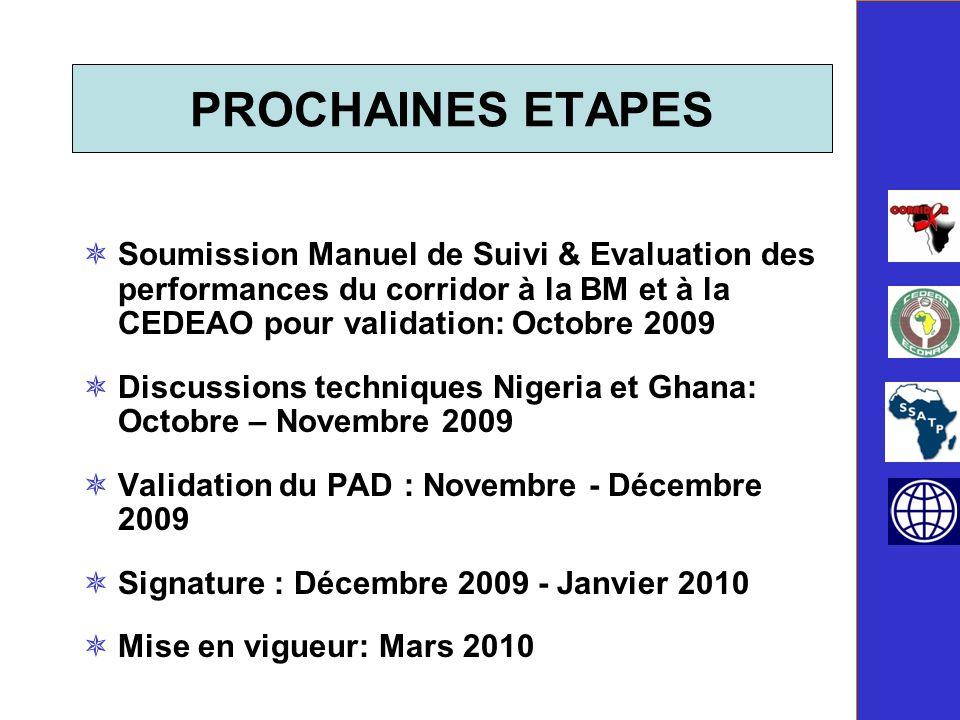 PROCHAINES ETAPES Soumission Manuel de Suivi & Evaluation des performances du corridor à la BM et à la CEDEAO pour validation: Octobre 2009.
