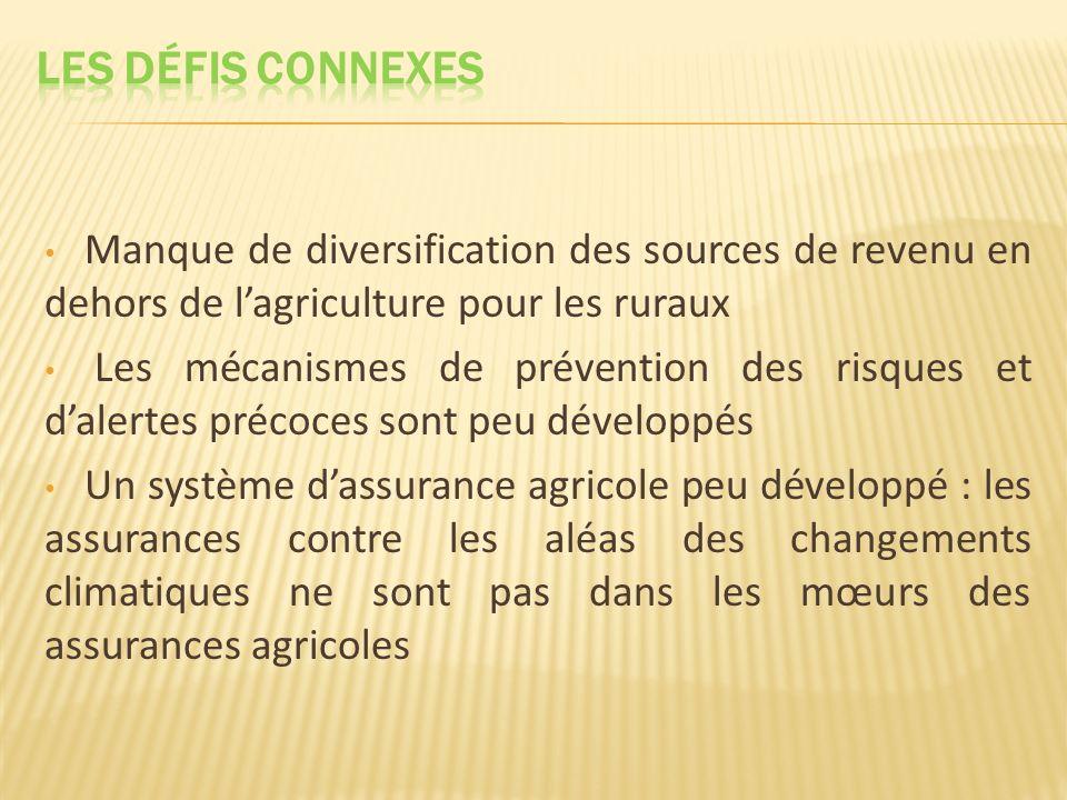 Les défis CONNEXES Manque de diversification des sources de revenu en dehors de l'agriculture pour les ruraux.