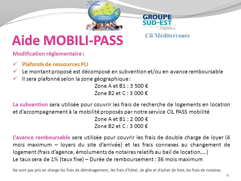 Aide MOBILI-PASS Cil Méditerranée Modification réglementaire :