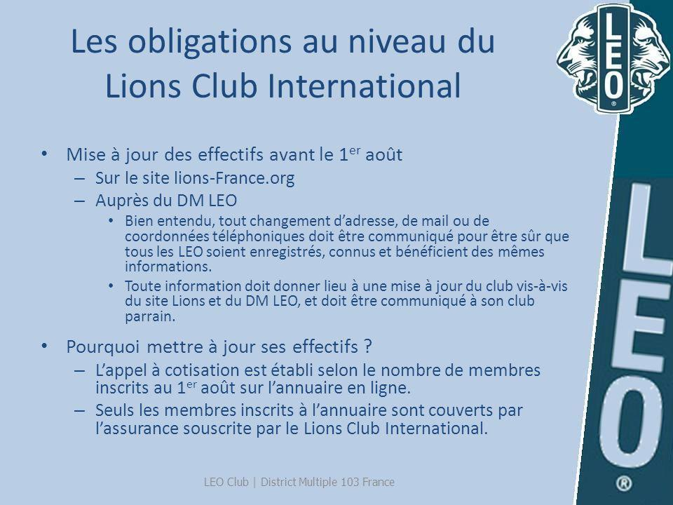 Les obligations au niveau du Lions Club International