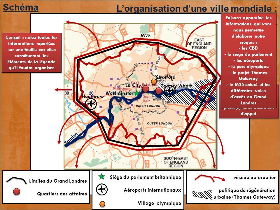    Schéma L'organisation d'une ville mondiale : Londres M25