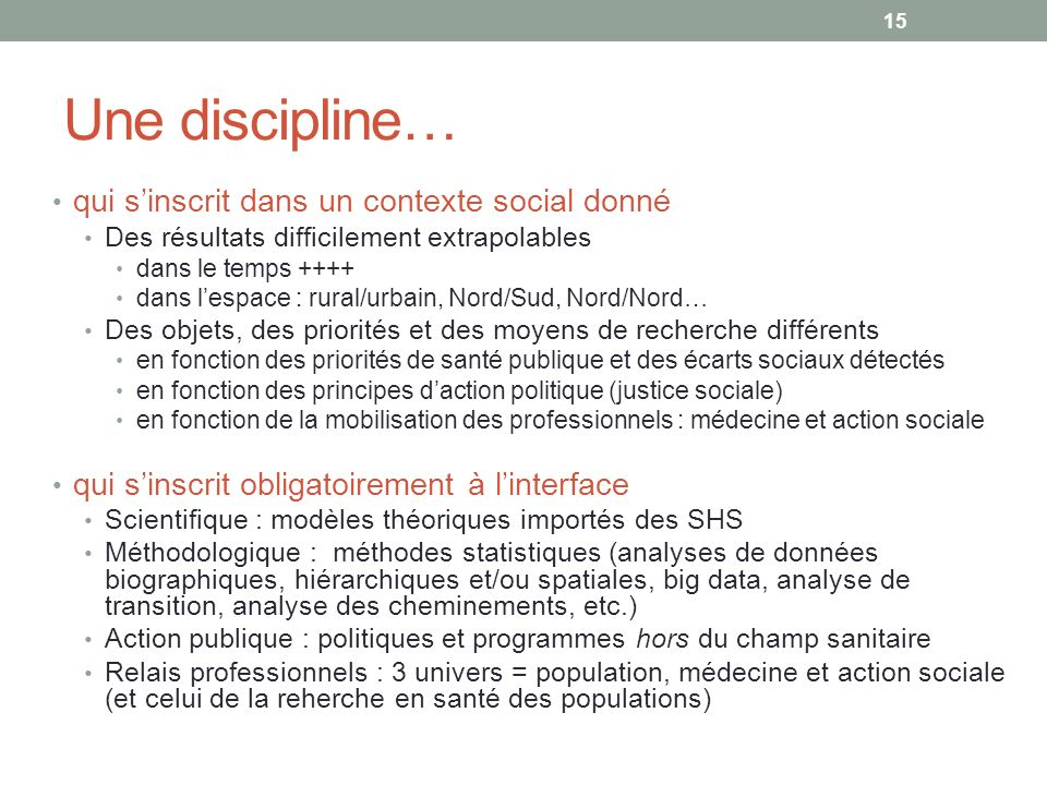 Une discipline… qui s'inscrit dans un contexte social donné
