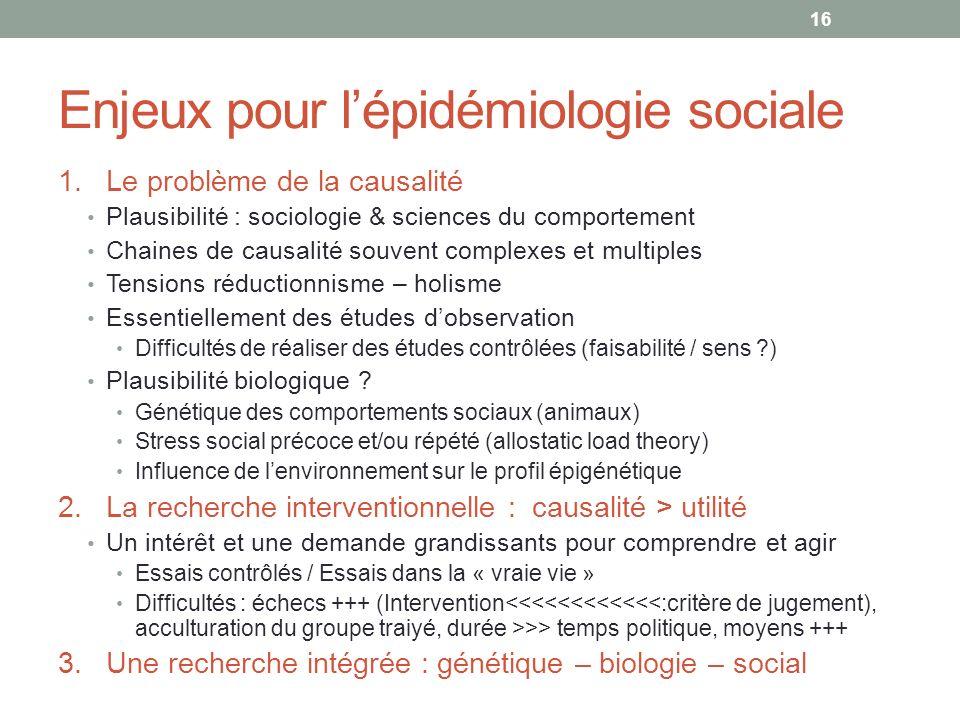 Enjeux pour l'épidémiologie sociale