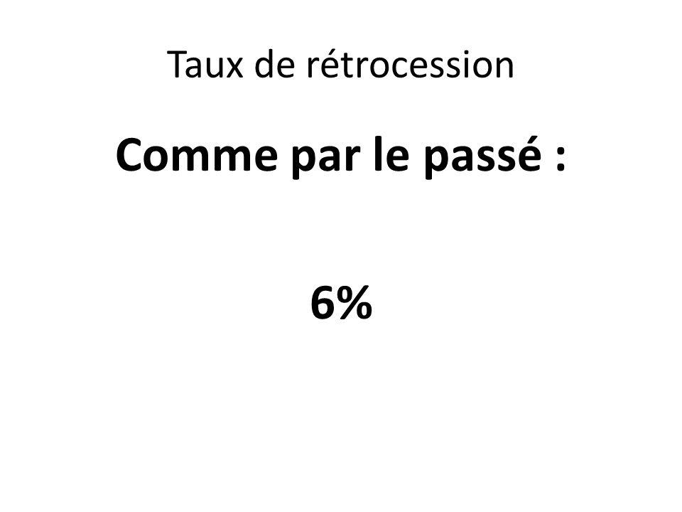 Taux de rétrocession Comme par le passé : 6%
