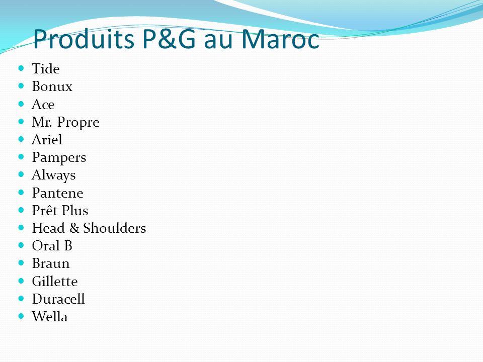 Produits P&G au Maroc Tide Bonux Ace Mr. Propre Ariel Pampers Always