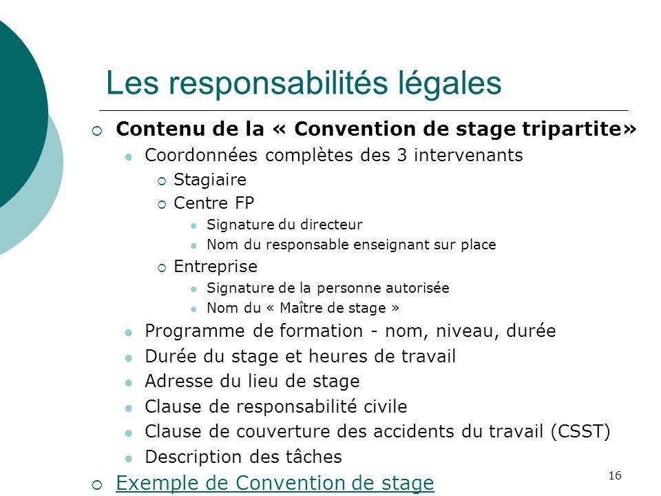 Les responsabilités légales