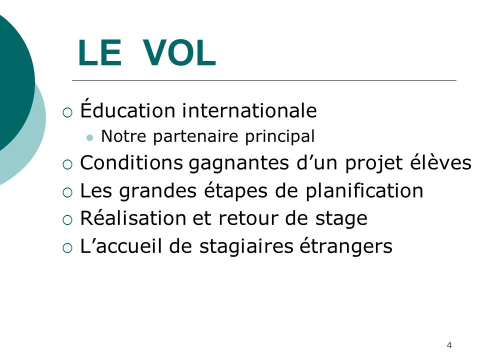 LE VOL Éducation internationale