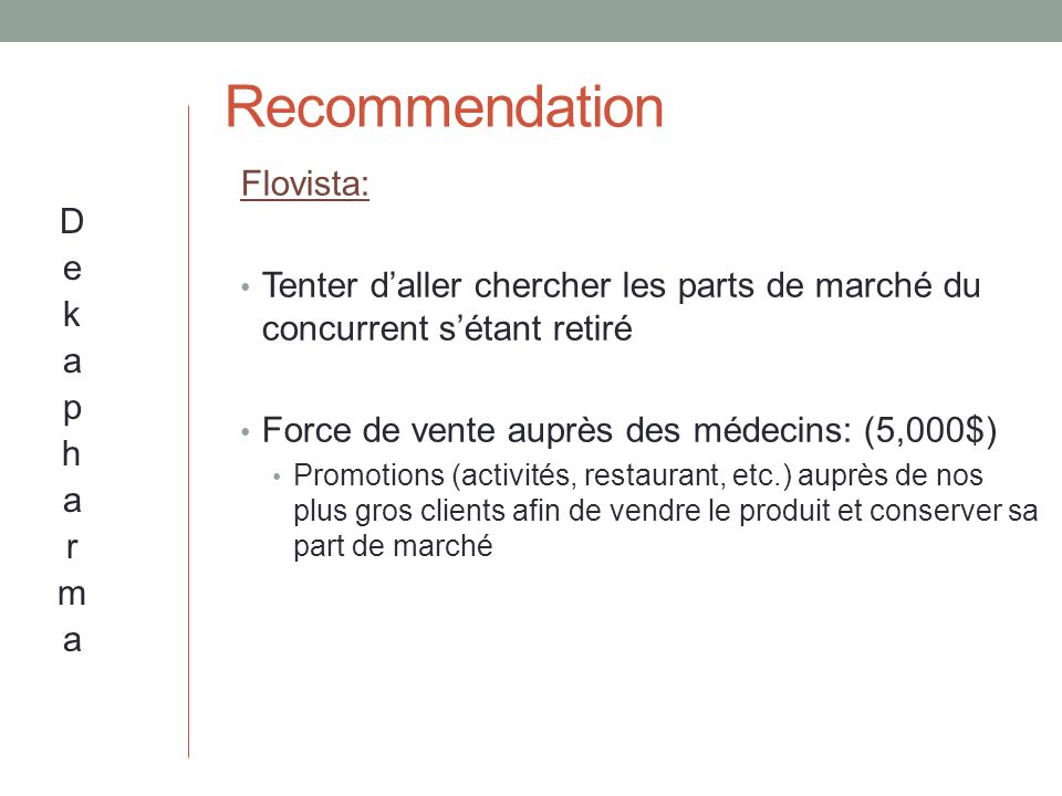 Recommendation Flovista: Dekapharma