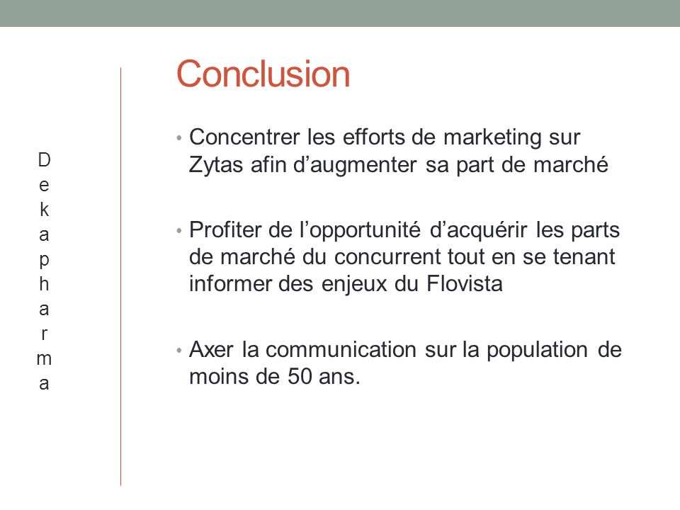 Conclusion Concentrer les efforts de marketing sur Zytas afin d'augmenter sa part de marché.