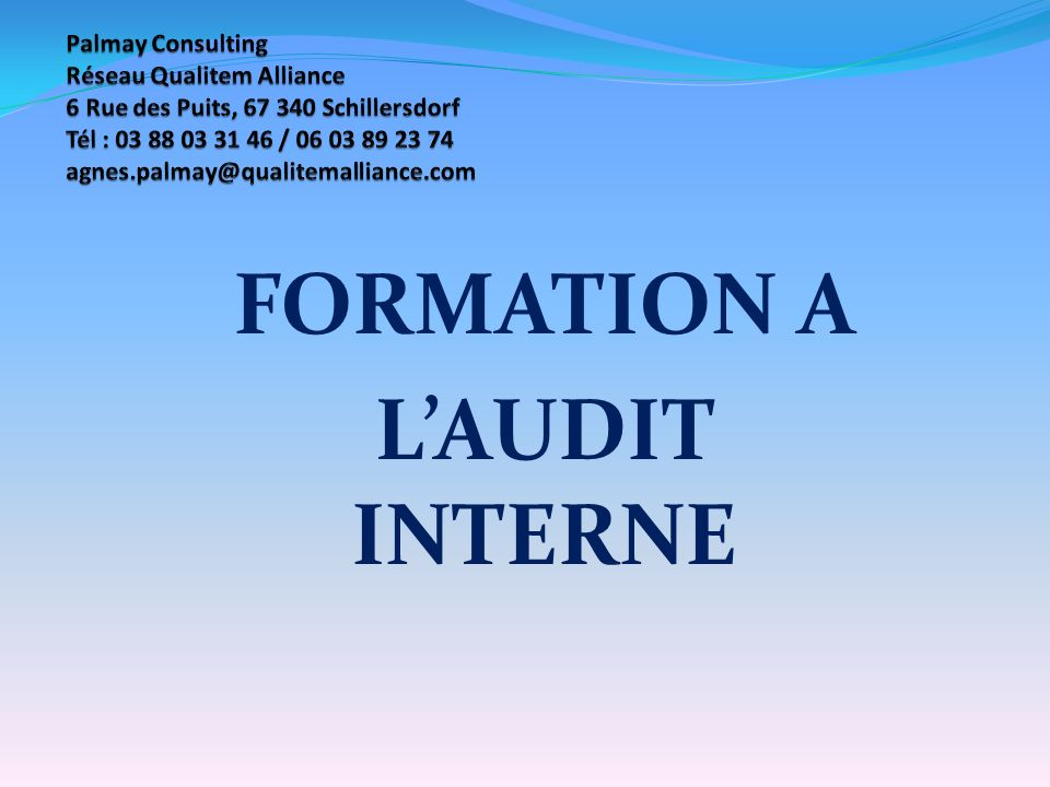 FORMATION A L'AUDIT INTERNE