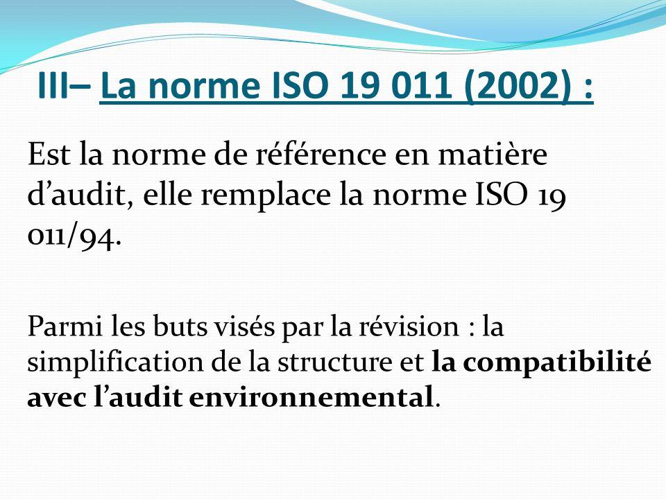 III– La norme ISO 19 011 (2002) : Est la norme de référence en matière d'audit, elle remplace la norme ISO 19 011/94.