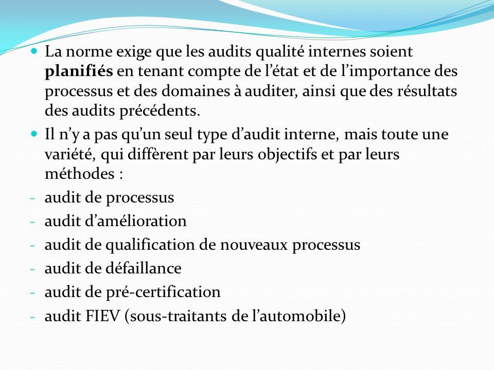 La norme exige que les audits qualité internes soient planifiés en tenant compte de l'état et de l'importance des processus et des domaines à auditer, ainsi que des résultats des audits précédents.