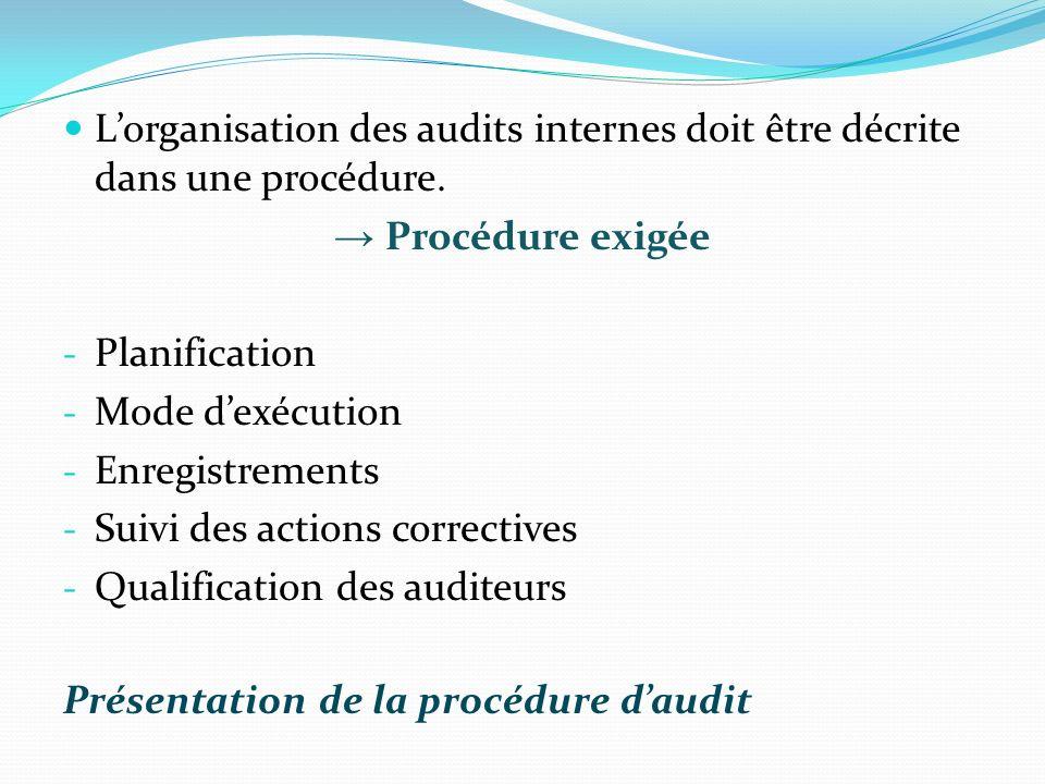L'organisation des audits internes doit être décrite dans une procédure.