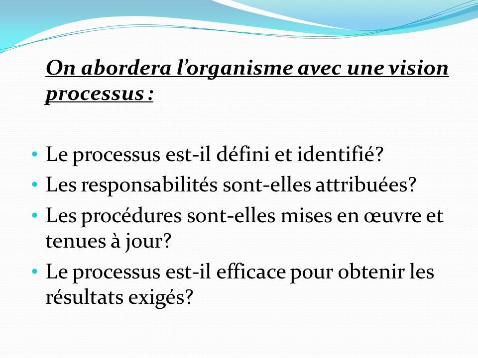 On abordera l'organisme avec une vision processus :