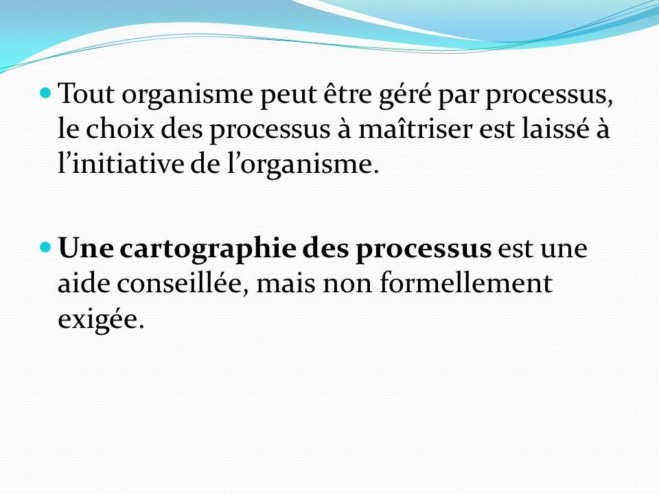 Tout organisme peut être géré par processus, le choix des processus à maîtriser est laissé à l'initiative de l'organisme.