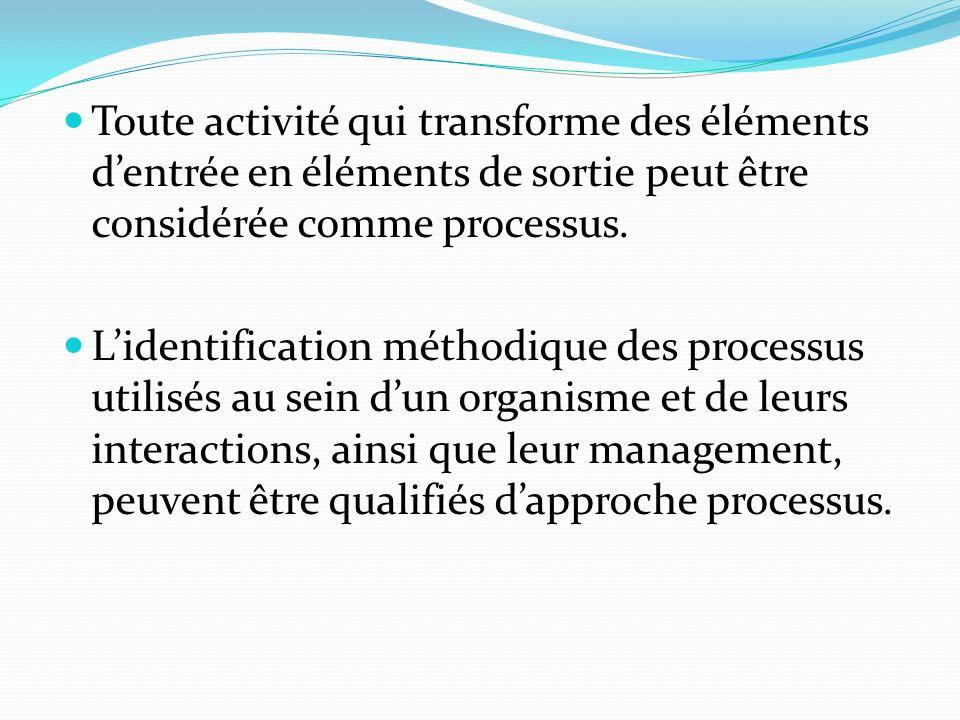 Toute activité qui transforme des éléments d'entrée en éléments de sortie peut être considérée comme processus.
