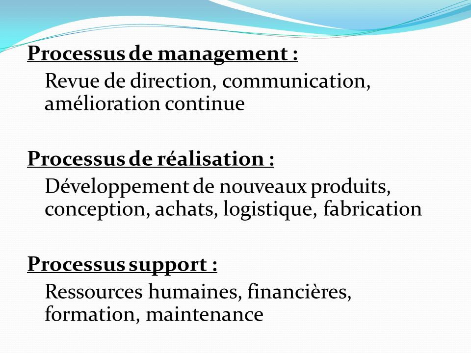 Processus de management :