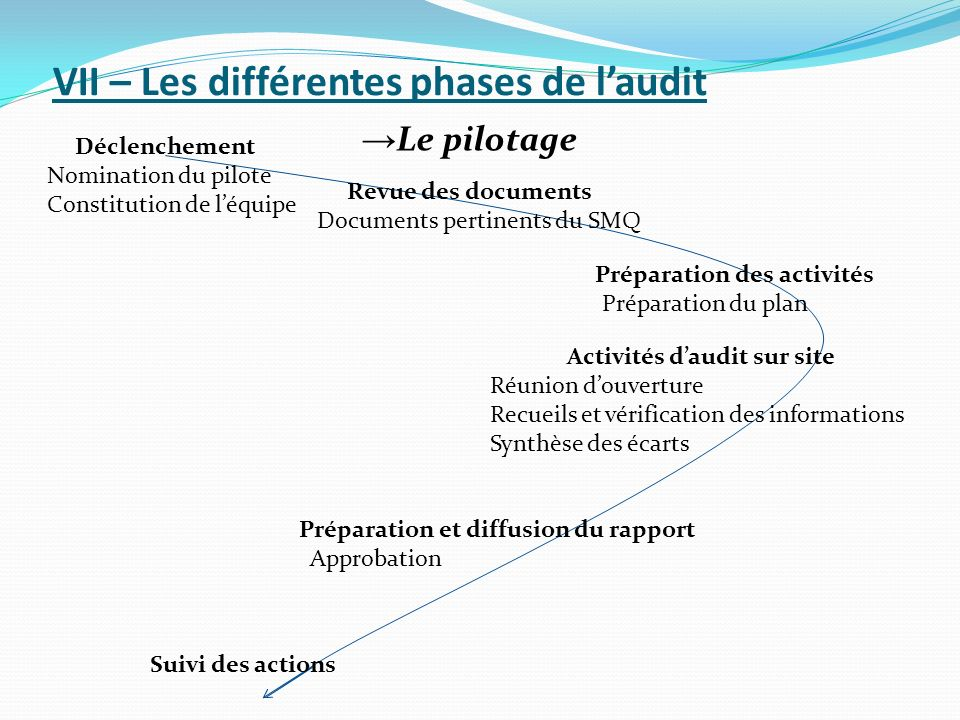 VII – Les différentes phases de l'audit