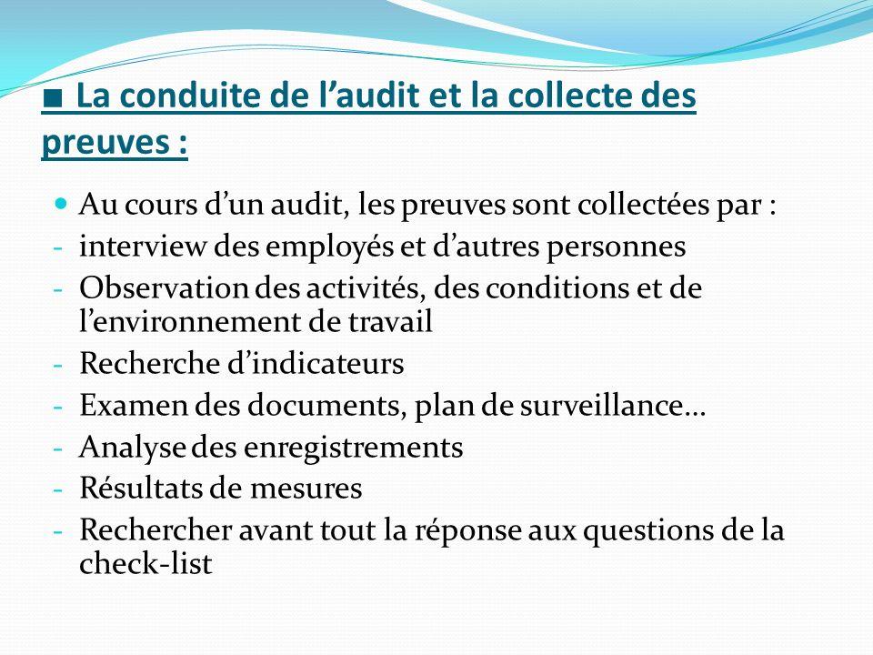 ■ La conduite de l'audit et la collecte des preuves :
