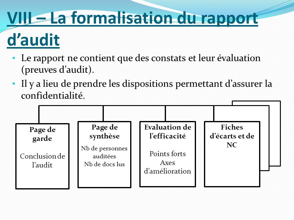 VIII – La formalisation du rapport d'audit