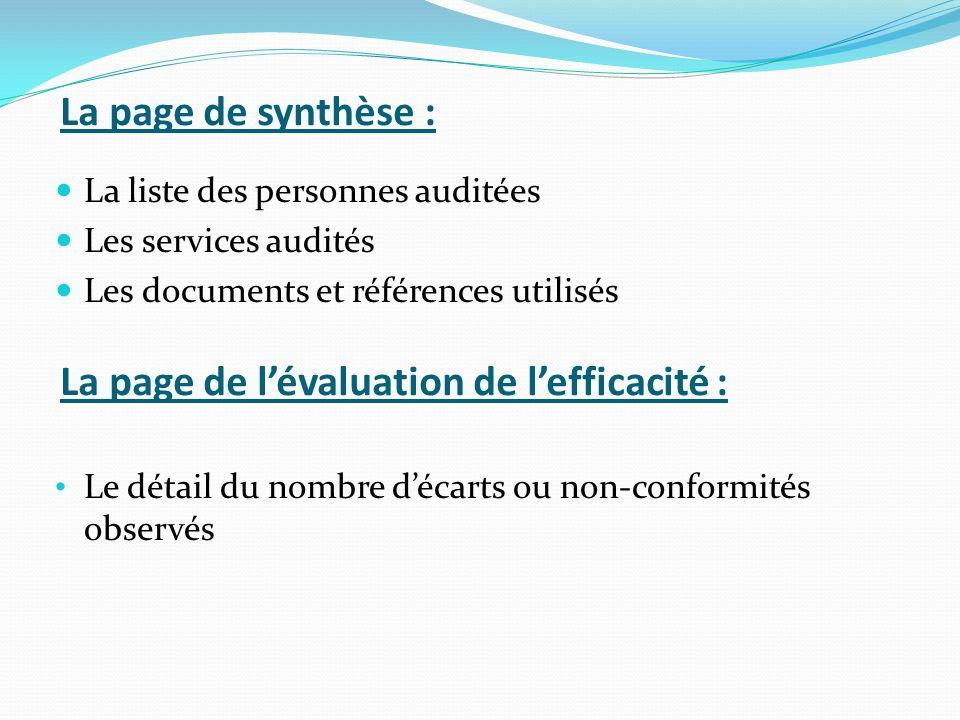 La page de l'évaluation de l'efficacité :