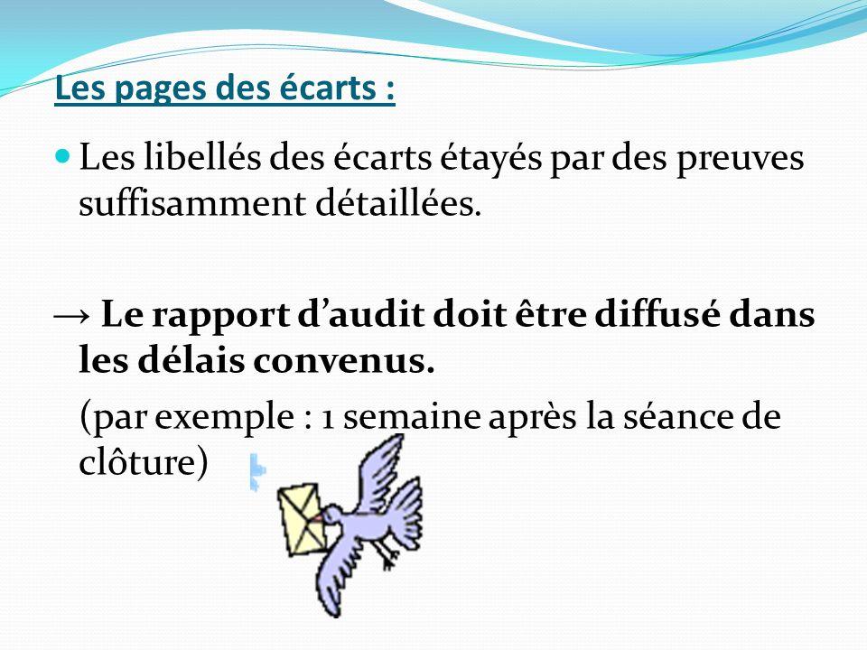 Les pages des écarts : Les libellés des écarts étayés par des preuves suffisamment détaillées.