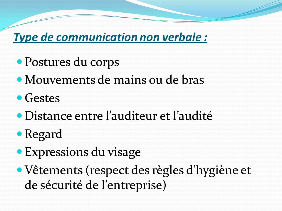 Type de communication non verbale :