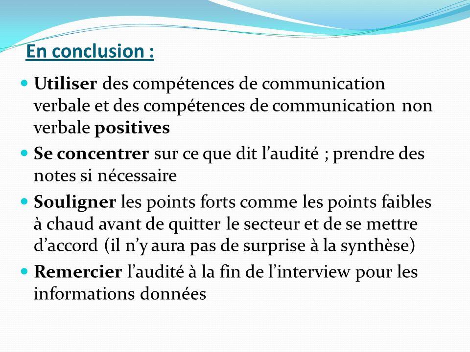 En conclusion : Utiliser des compétences de communication verbale et des compétences de communication non verbale positives.